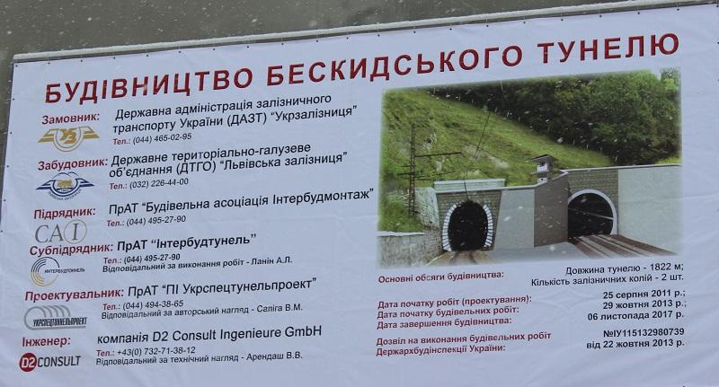 НаЗакарпатті добудували Бескидський тунель